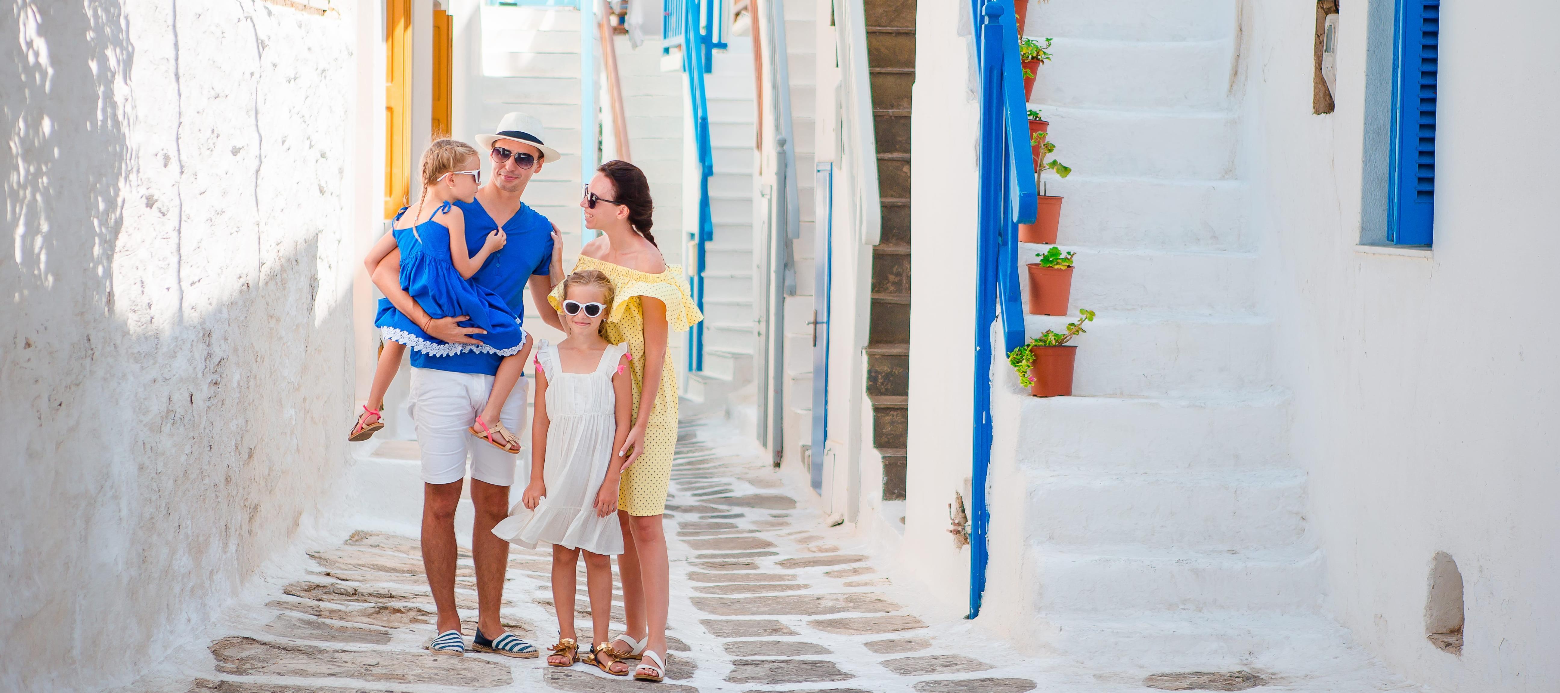 Family with 2 children in a sun destination