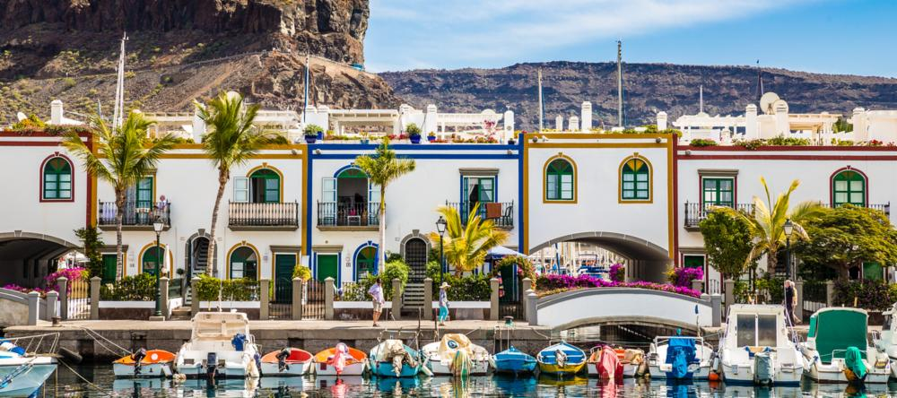 Colourful buildings in Puerto de Mogan in Gran Canaria