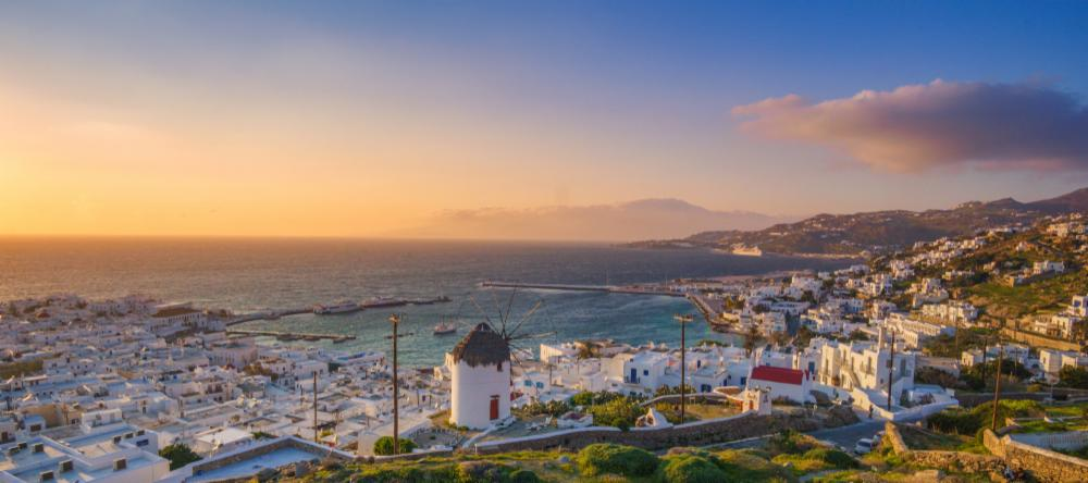 Aerial view of Mykonos at sunset