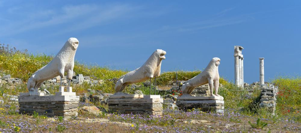 Terrace of Lions on Delos Island near Mykonos, Greece