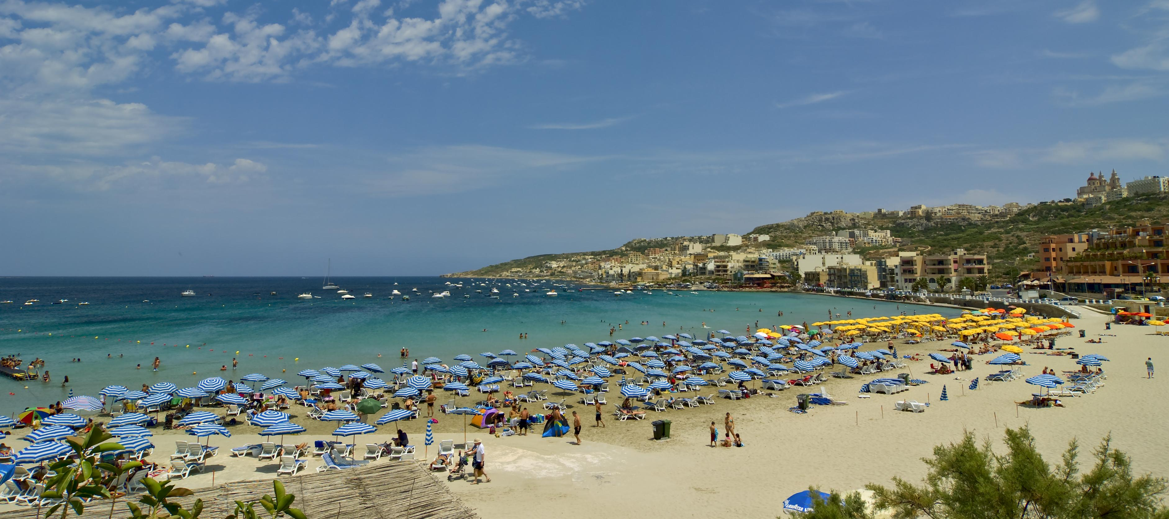 Mellieha Beach also known as Ghadira Bay, in Malta