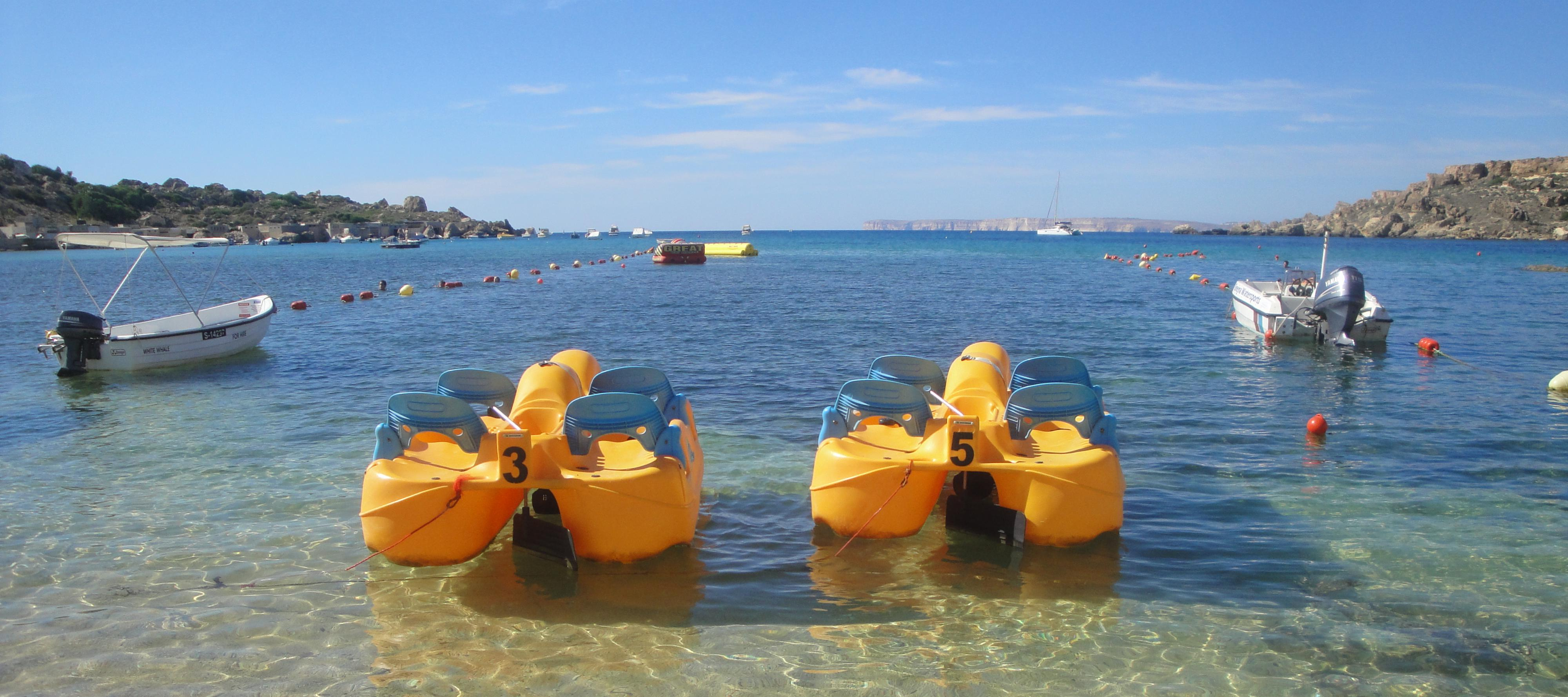 Paddle boats at the beach in Malta