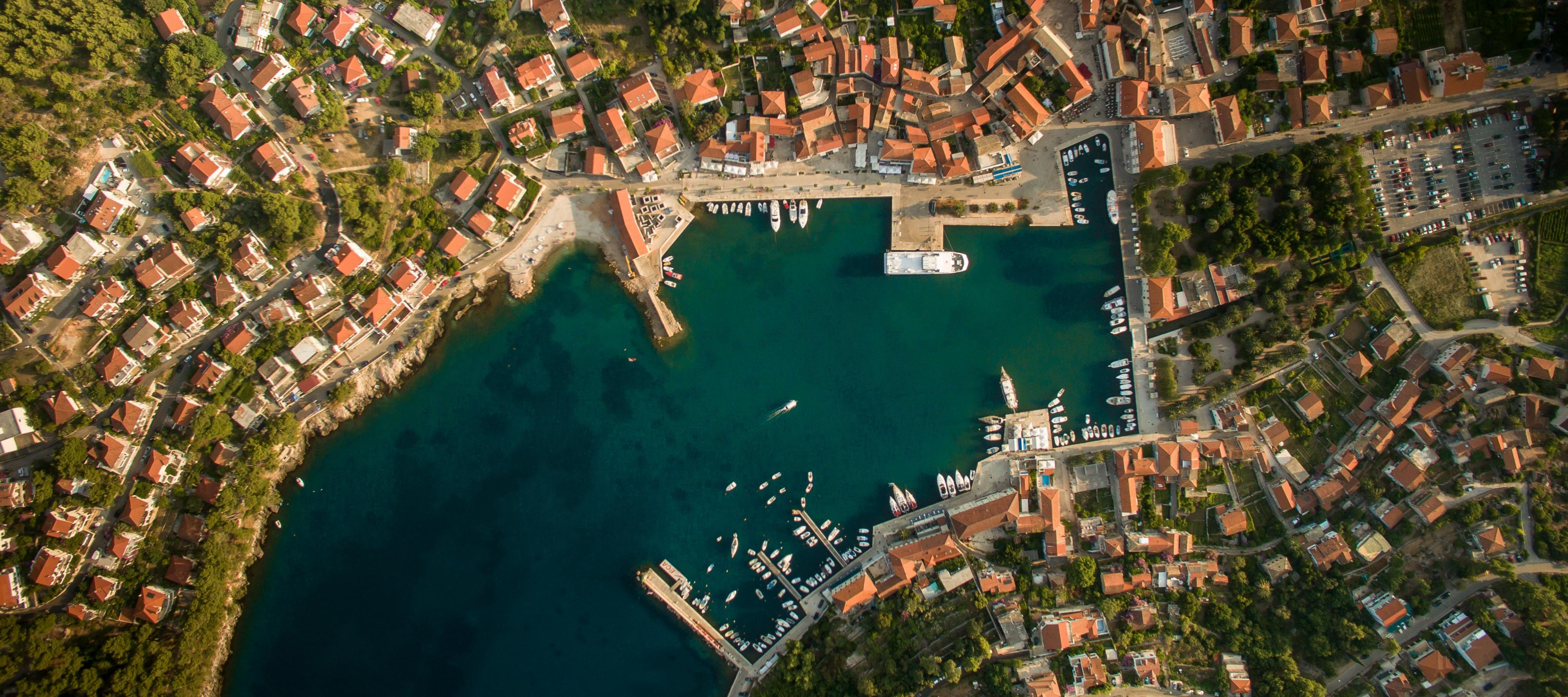 Aerial view of town in Croatia