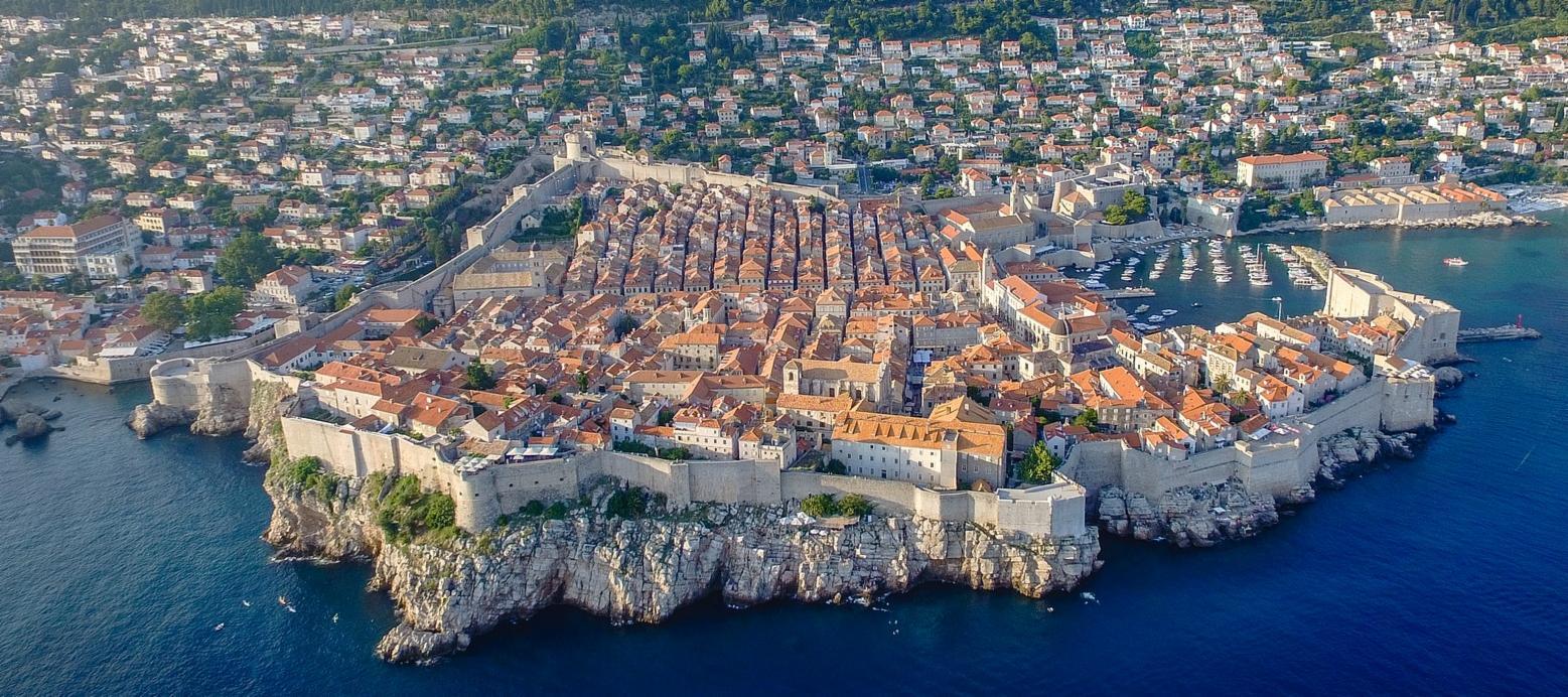 Aerial view of Dubrovnik in Croatia