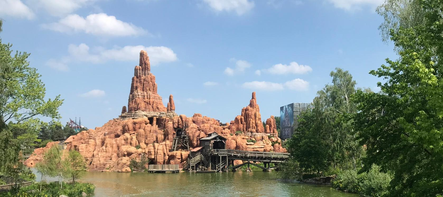 View of Big Thunder Mountain in Frontierland in Disneyland Paris