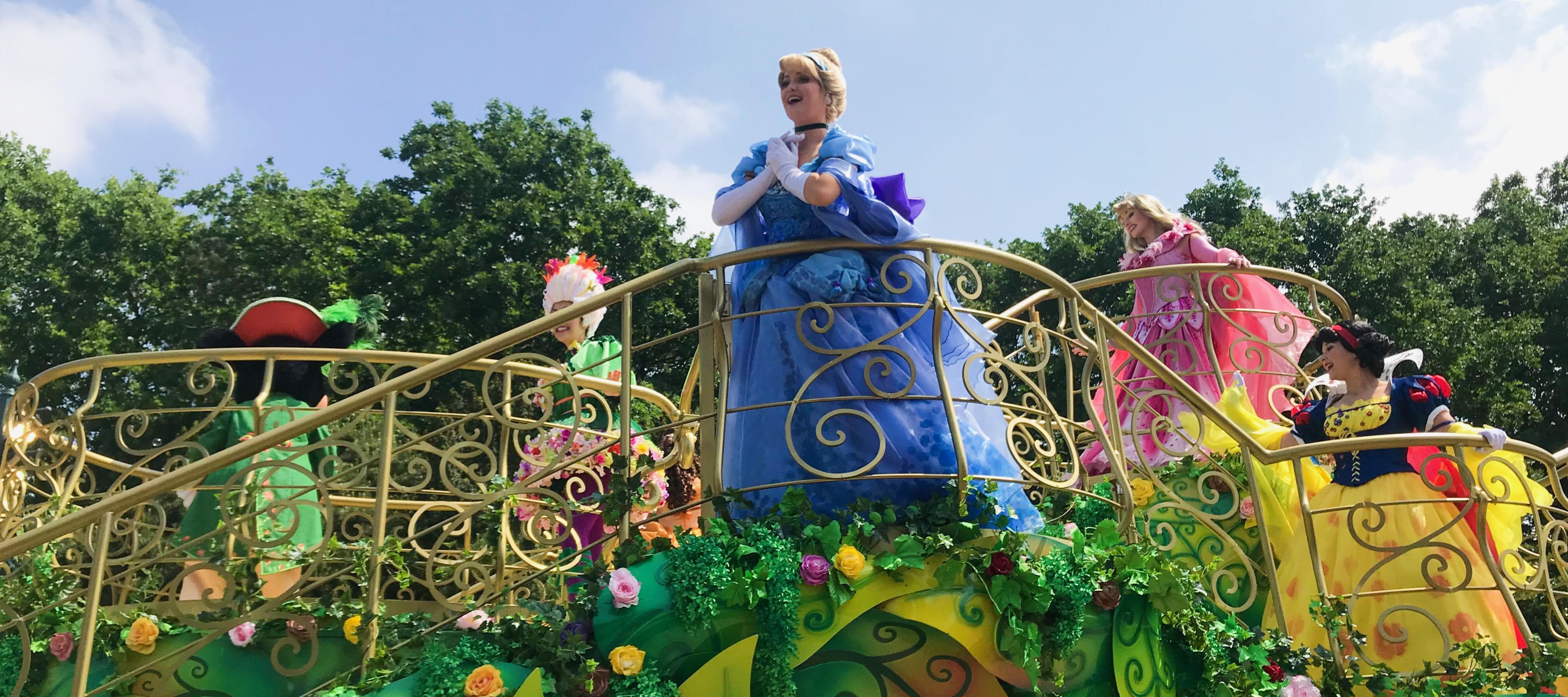 Cinderella during the Princess Parade in Disneyland Paris