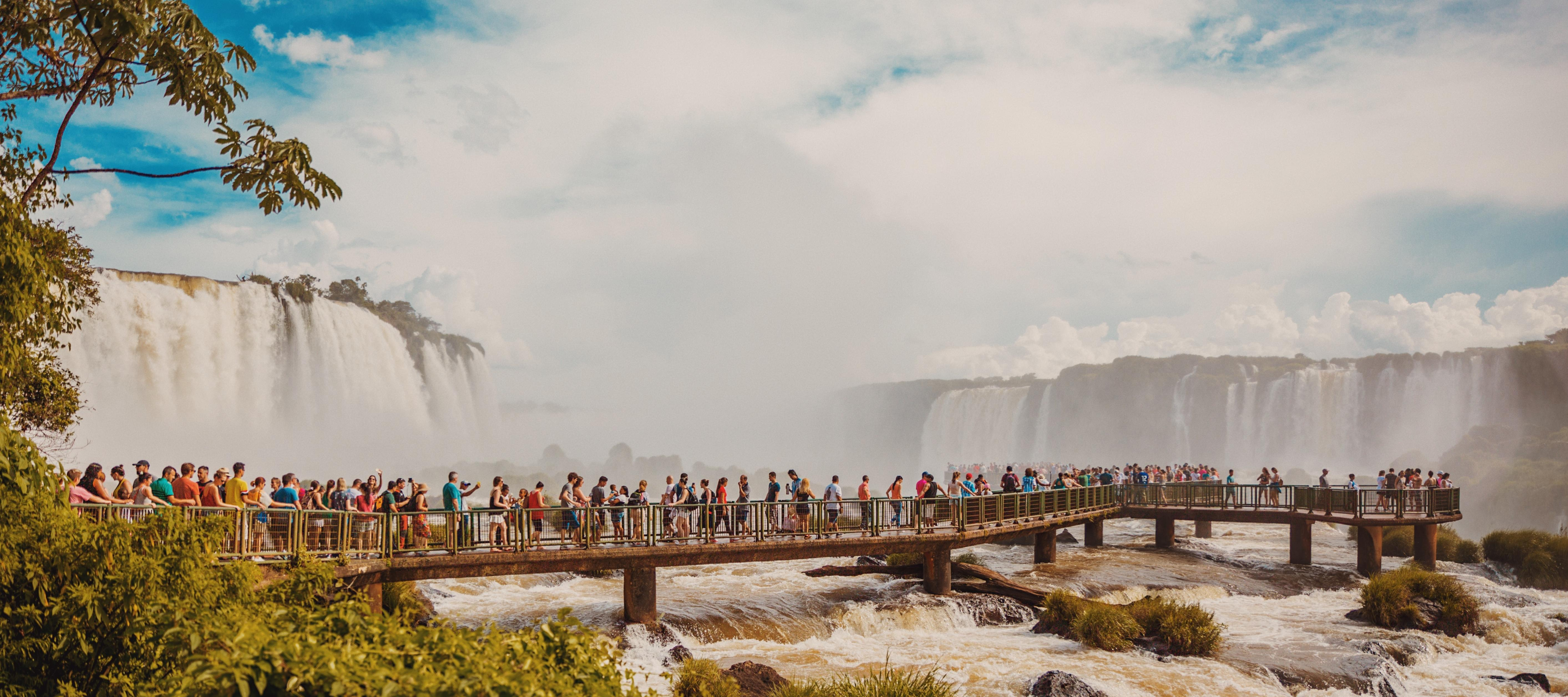 Crowd at waterfall