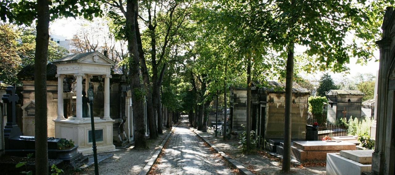Path in Père Lachaise Cemetery in Paris