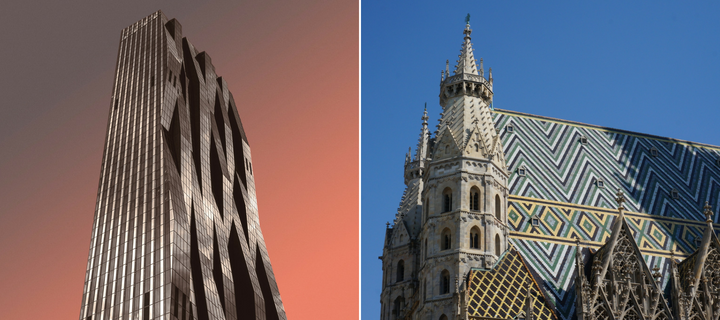 Contrasting architecture in Vienna - the DC Tower and St. Stephen's Cathedral