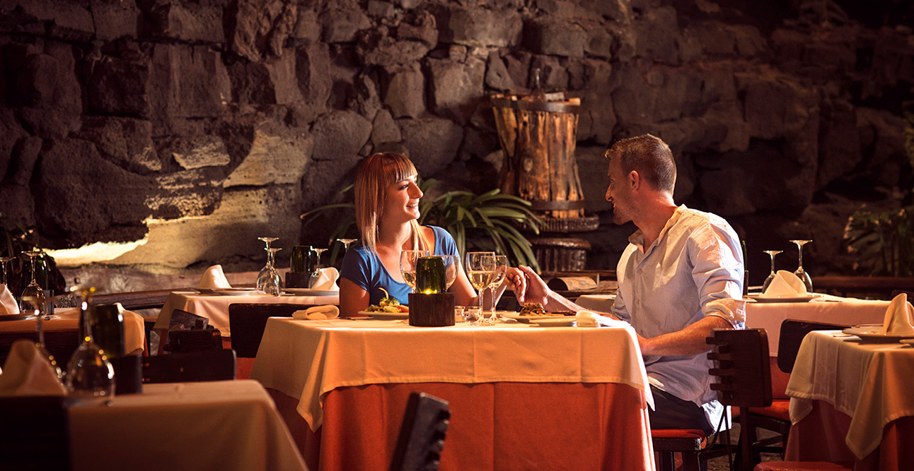 Couple dining at Jameos del Agua | 7 Reasons to Visit Lanzarote