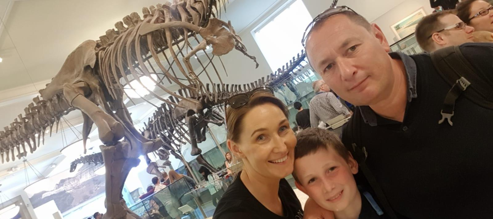 Stephen and his family at the American Museum of Natural History