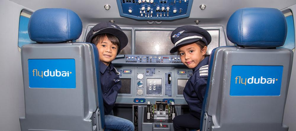 Kids in airplane at Kidzania in Dubai