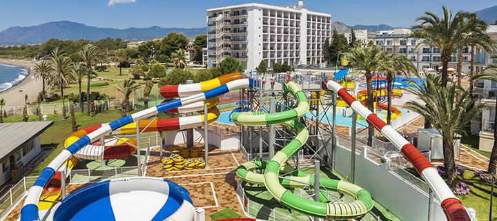 View of the waterpark in Globales Playa Hotel in Estepona, Spain