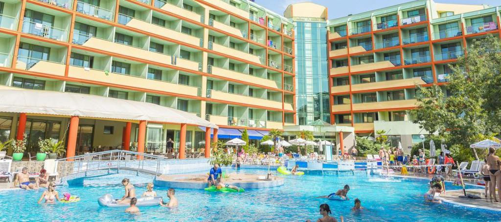 Pool area in the Kalina Garden in Sunny Beach, Bulgaria