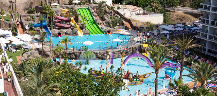 The pool and waterpark at Globales Los Patos Park in Benalmadena, Spain.