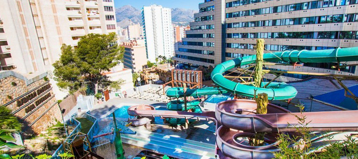 Waterpark in the Magic Aqua Rock Gardens in Benidorm, Spain.