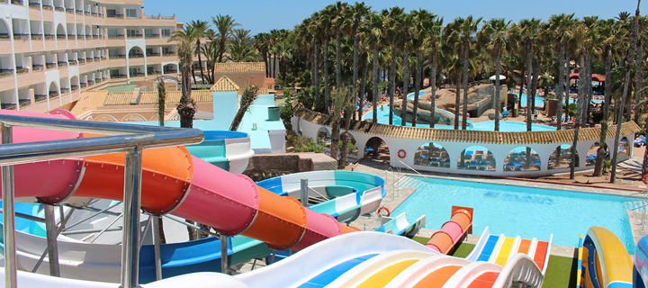 Waterslides in the Playasol Spa Hotel in Roquetas de Mar, Spain.