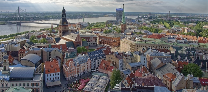 Bird's eye view of Riga in Lativa