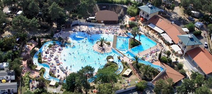 Pool area in Sylvamar campsite in France