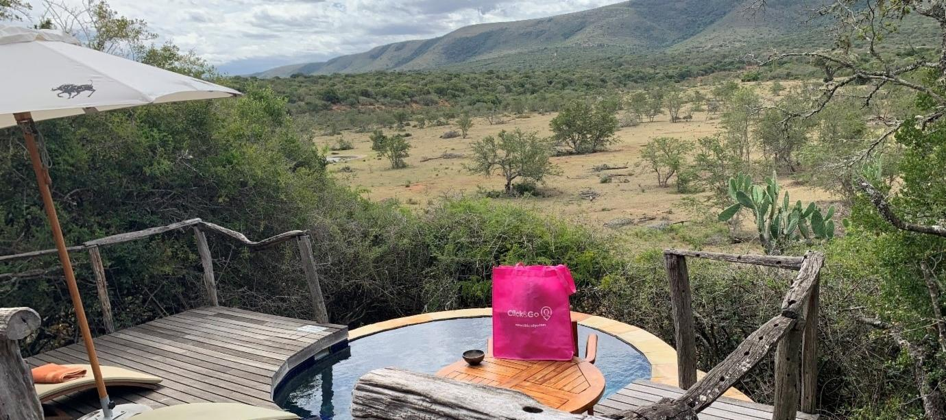 View from private bush lodge with its own plunge pool overlooking the African landscape