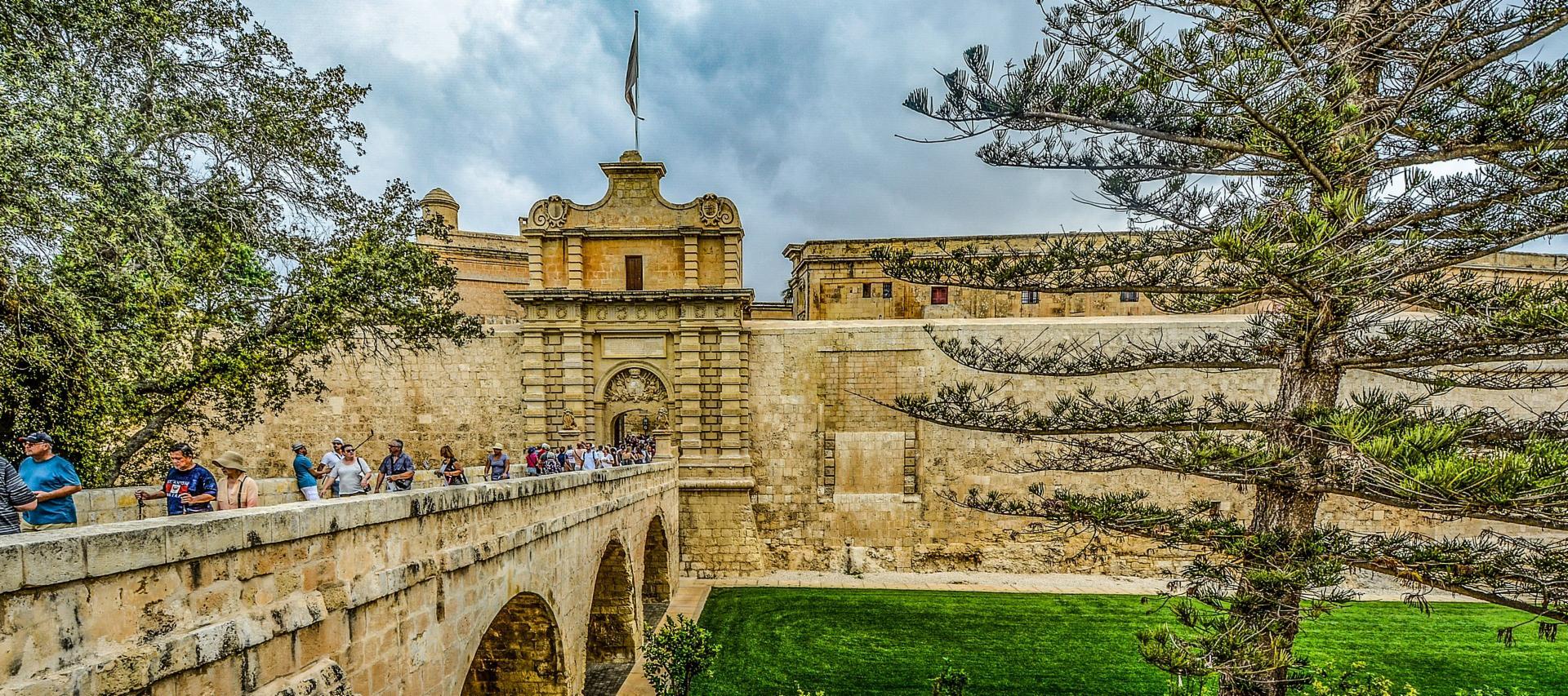 The city gates into Mdina, Malta.