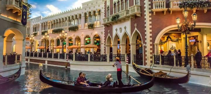 The gondolas inside The Venetian Hotel in Las Vegas