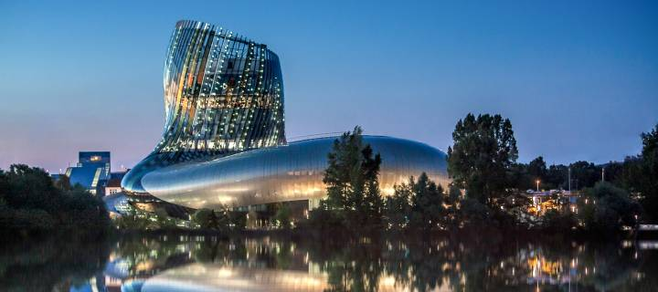 La Cité du Vin in Bordeaux at nighttime