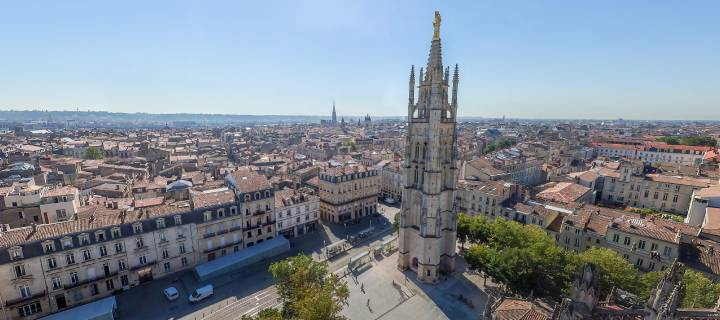 Aerial view of the Pey-Berland Tower in Bordeaux