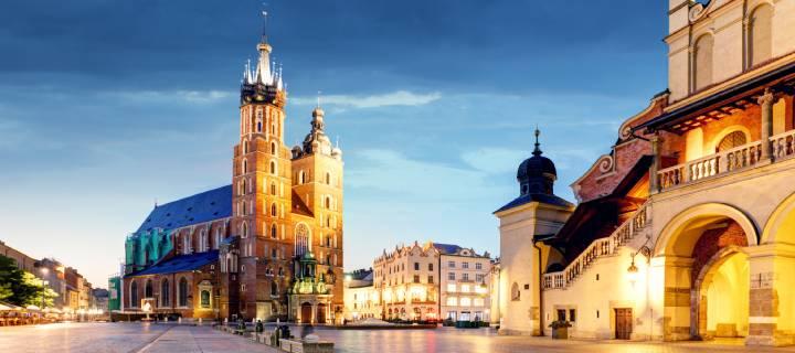Rynek Główny, the old town square, in Krakow