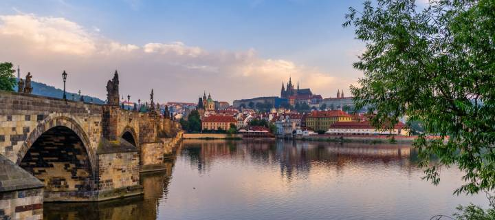 The Charles Bridge and Vltava River in Prague