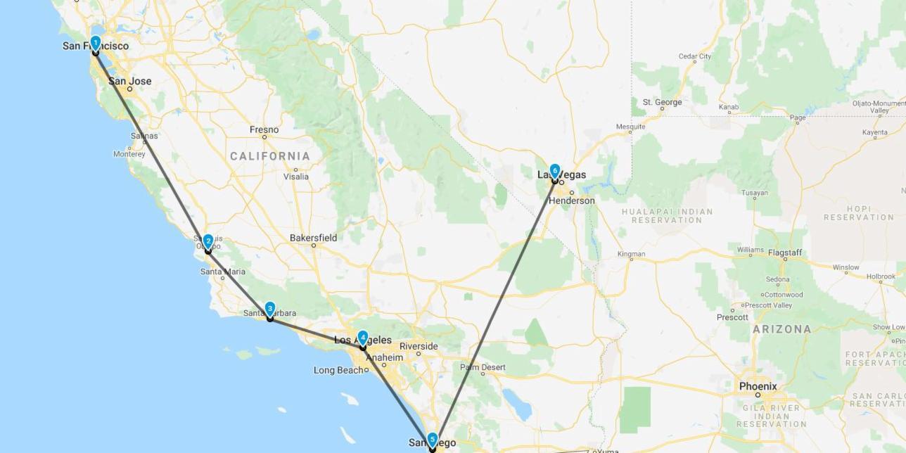 road map of destinations