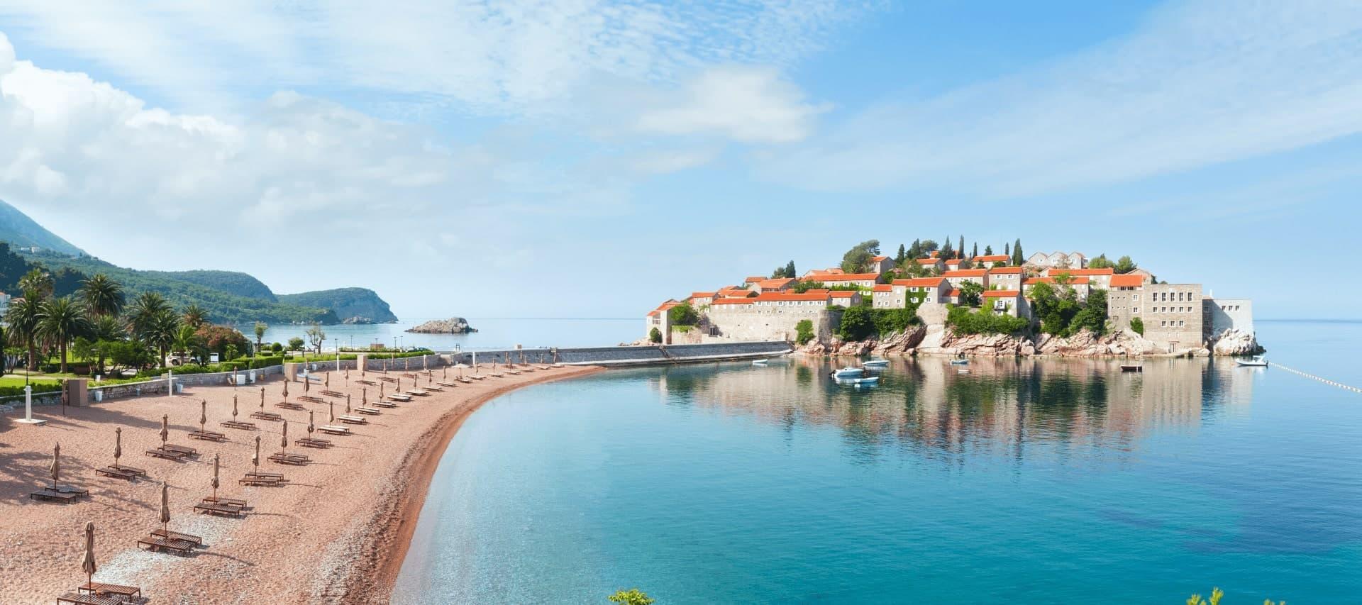 The beach at Sveti Stefan, Montenegro