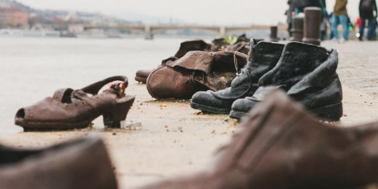 Shoes on the Danube monument in Budapest