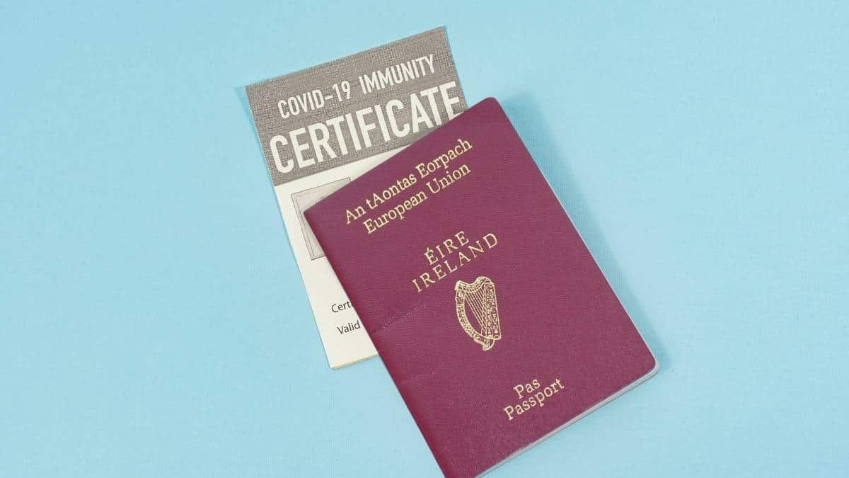 Irish passport with a COVID-19 immunity certificate